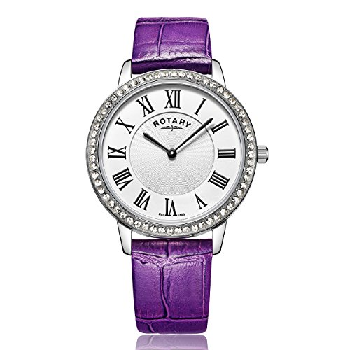 Rotary-Womens-Quartz-Watch-with-Silver-Dial-Analogue-Display-and-Purple-Leather-Strap-LS0035806A
