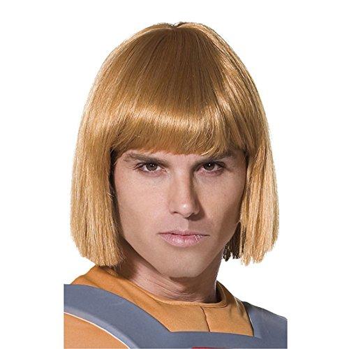 Superheld Perücke He-Man blond Comic Herrenperücke He Mann Heldenperücke Held Filmstar Prinz Adam Kostüm Accessoire (Superhelden Blonde)
