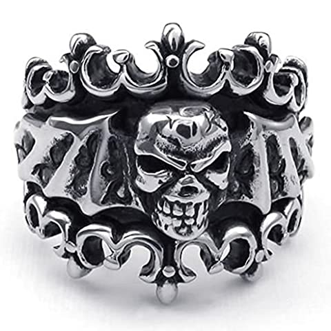 Beydodo Stainless Steel Ring (Punk Bands) Crown Skull Bat Silver Size T 1/2 For Men