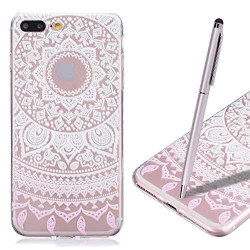 Coque iPhone 7 , iPhone 7 Etui , CaseLover Fleur de Dentelle Motif Mode Etui Coque TPU Slim pour Apple iPhone 7 (4.7 pouces) Mode Flexible Souple Soft Case Couverture Housse Protection Anti rayures Mi Mandala rose
