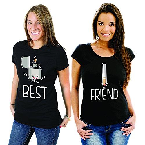 Coppia Di T Shirt Magliette You And Me Best Friend Accendino e Sigarette Nere