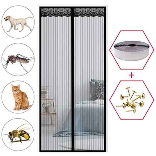 GOUDU Fliegengitter Tür Magnetisch, Magnetvorhang, Insektenschutz, Easy Install, für Balkontür Wohnzimmer Terrassentür - Schwarz 70x230cm(28x91inch)