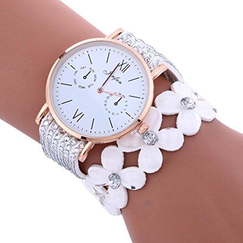 Hunpta Mode große Zifferblatt Glockenspiel Diamant Leder Armband Dame Womans Armbanduhr (Weiß)