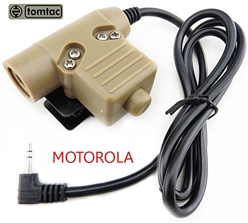 0ea3ac3f8a4 Airsoft Tomtac U94 PTT Tan 2 Way radio Switch Sordins Comtac Motorola 1  broches Push