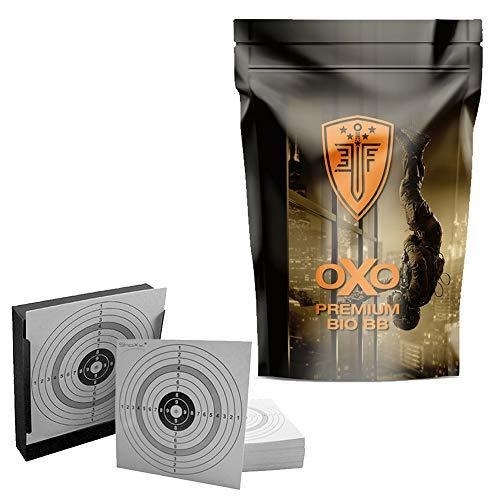 Elite Force Premium Softair, Airsoft Bio BBS, 4000 Stk, 0,25 g, Kal. 6 mm (2.6101) + Kugelfang Flach + 10 Original ShoXx. Shoot-Club Zielscheiben mit 250 g/m² -