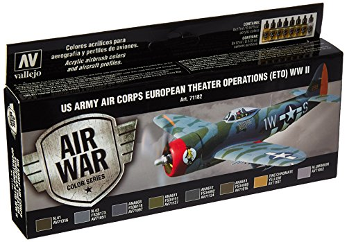 Acrylicos Vallejo'theatre operazioni Eto Wwii US Air Corps europeo Model Air set