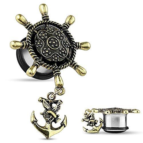 Nautical Anchor Ear Plugs - Brass Ship Wheel w/Anchor Dangle Single Flare Plugs (12mm - 1/2 inch) by BodyJewelryOnline -