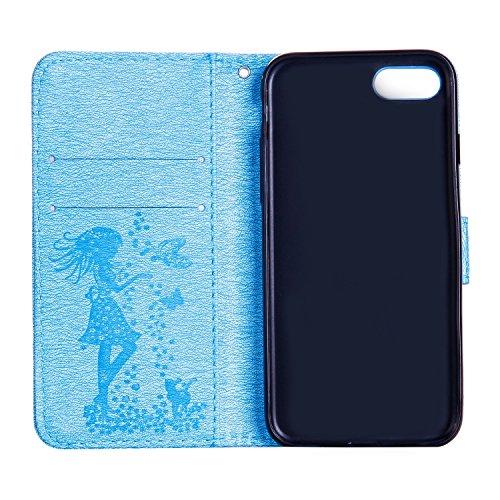 Für Apple IPhone 7 Abdeckungs-Fall, prägeartiges Mädchen-Muster Rhinestone TPU PU-lederner Mappen-Fall-horizontaler Schlag-Standplatz-Fall mit Halter u. Lanyard u. Karten-Schlitzen ( Color : Blue ) Green