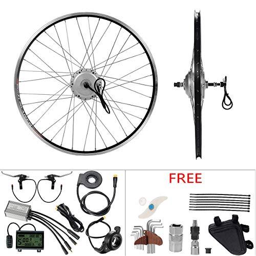 """YOSE POWER E-Bike Conversion Kit 36V350W 28\"""" Zoll Umbausatz Freilauf Heckmotor Silber für Elektrofahrrad Schraubritzel mit LCD Display"""