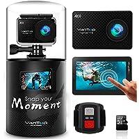 VanTop MOMENT 4 Caméra Sport Wi-FI 4K 1080P avec Écran Tactile et 32GB Carte Micro SD, Caméra Étanche 40M avec 20MP Capteur Sony, 170°Grand Angle, 2 Batteries de 1200mAh et Télécommande Inclut 22 Accessoires Compatibles avec Gopro