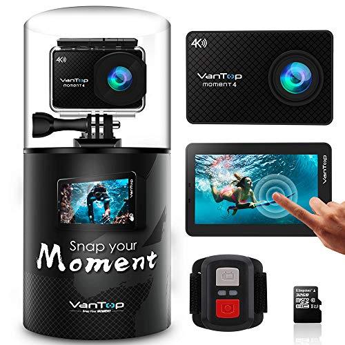 VanTop MOMENT 4 Caméra Sport 4K Wi-FI avec Écran Tactile et 32GB Carte Micro SD, Caméra Étanche 40M avec 20MP Capteur Sony, 170°Grand Angle, 2 Batteries de 1200mAh et Télécommande Inclut 22 Accessoires Compatibles avec Gopro