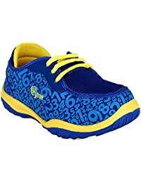 MYAU Kid's Boys Girls Blue Yellow Numbers Printed Laced Up Shoes