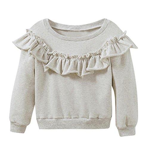 Baby Sweatshirt Btruely Lange Hülse Bluse Mädchen Pullover Warm Mantel (Grau, 80)
