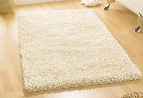 Large Heavy Weight Thick Luxurious Hand Tufted Wool Ivory Colour Shaggy Rug in 110 x 170 cm (4' x 5'7