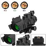 ESSLNB 4x32mm Zielfernrohr Luftgewehr Airsoft Red Dot Visier Sight Leuchtpunktvisier mit Fiberoptic und 20mm/22mm Montage für Jagd