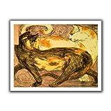 ARTWall Kunstdruck auf Leinwand Franz Marc Zwei Katzen Brillanz Flache Canvas Kunstwerke, 28von 91,4cm