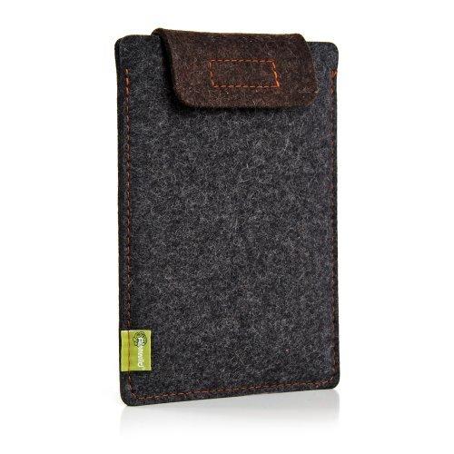 ALMWILD® Hülle, Tasche für iPad Mini. Smart Cover geeignet! Aus Filz in Schiefer- Grau mit Verschluß - Lasche in Trüffel - Braun. Case Tasche Schutzhuelle für alle Apple iPad Mini - Mini 4 mit Smart Cover