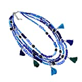 #10: Zephyrr Multi Strand Necklace Blue Glass Beaded with Tassels Contemporary Design