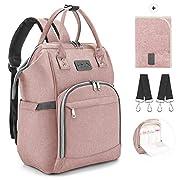 Viedouce Baby Wickelrucksack Wickeltasche Babytasche,Wasserdicht Oxford Große Kapazität für ausgehen,Multifunktional zum Rucksack mit 1 Stück Wickelauflage und 2 Kinderwagengurten (Rosa)