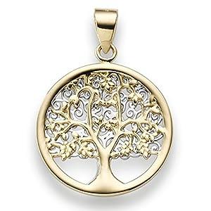 Anhänger Amulett Lebensbaum 585 Gold gelb/weiß bicolor 25×17,5mm nach Motiv von Gustav Klimt