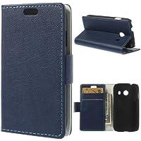 Flip Case Business Case Handytasche Etui Cover Samsung Galaxy Ace Style / SM-G310 - STAND BOOK navy-blau Ständer mit Kreditkartenfach