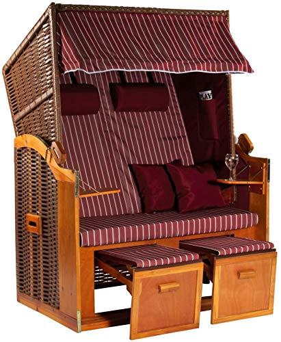 Möbelcreative Strandkorb Ostsee XXL Volllieger 2 Sitzer - 120 cm breit - Burgund rot weiß gestreift inklusive Schutzhülle, ideal für Garten und Terrasse