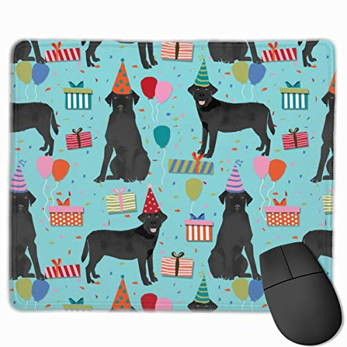 Black Lab Birthday Party Dog Breed Labrador Retriever Blue_19525 Mouse pad Custom Gaming Mousepad Nonslip Rubber Backing 9.8