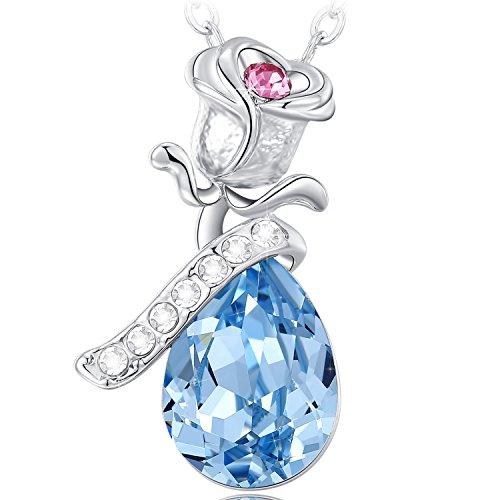 Neemoda collana donna ciondolo cristallo blu pendente rosa gioielli regali per lei compleanno anniversario san valentino natale festa della mamma