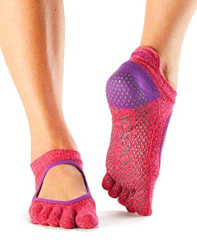 Toesox Grip Full orteils bellarina Chaussettes, Chaussettes danse et peut être utiliser pour barre, yoga, Pilates, Fitness antidérapant antidérapant Chaussettes-1paire Havana