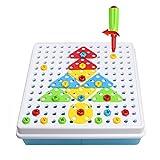 TONZE Construcción Figuras Puzzles Infantiles Figuras Geometricas y Tornillo Juguetes Educativos 3 años, 180 Pcs