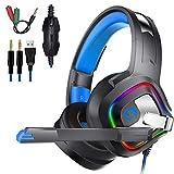 ACZZ Casque de jeu, casque de jeu Casque de jeu Ps4, super-oreille avec micro à led...