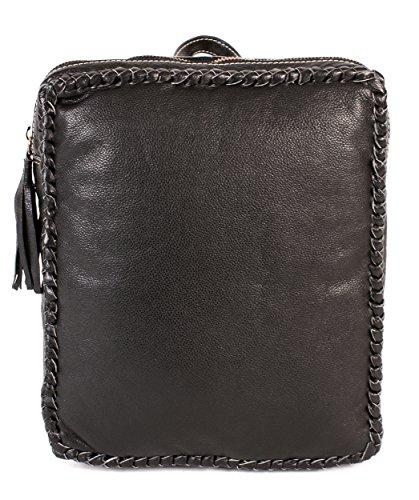 rl670 Londres Noir en Cuir Véritable Sac à dos – Tissage avec détails Fashion Bag