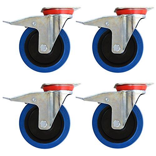 Set mit 4 Transportrollen mit Anschraubplatte   Blue Wheels   lenkbar mit Bremse   elastische Gummi Rollen 80 mm   weitere Größen mit und ohne Bremse wählbar -