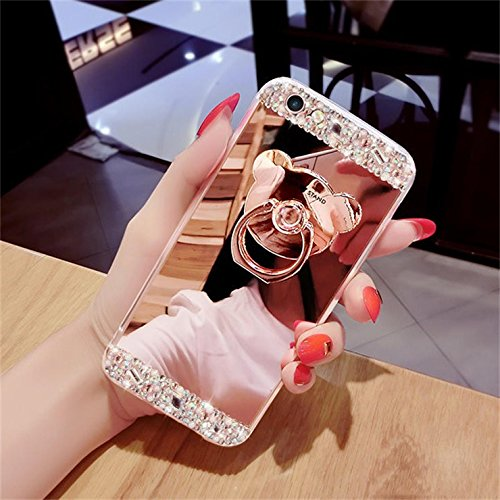 iPhone SE 5S 5 Wallet Case Flip Cover [gratis gehärtetes Glas Displayschutzfolie + 1 STYLUS PEN] Newstars NEU Modernes 3D Colorful Funny Cute Muster Print Aufdruck Full Body Design – Funkeln Bling Gli A6 Mirror Bear Ring 1