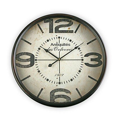 Versa 18190114 Horloge Murale 50 cm avec Finition Noir