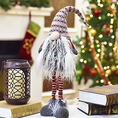 Valery Madelyn Höhe 65cm Stoff Dekofigur Weihnachtsdekoration Nordische Stimmung GNOME Figur Gonk Weihnachtsfigur Weihnachtsdeko mit Bart Knollnase und Langer Zipfelmütze Rot Grau MEHRWEG Verpackung