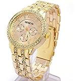 Japace® Súper Moda Mujer Chica Bling Wristwatch Reloj de Pulsera de Cuarzo con Crystal Rhinestone y Diamante --- Oro