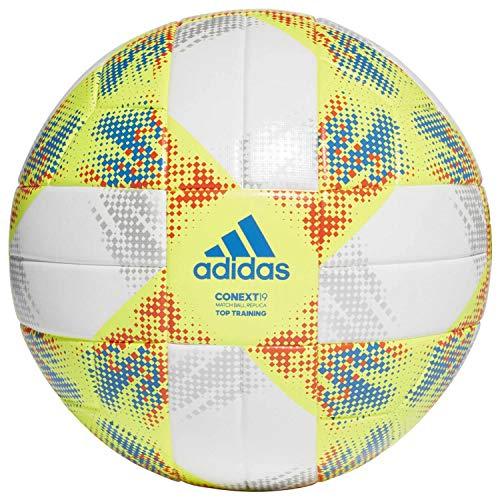 adidas Herren CONEXT19 TTRN Soccer Ball, top:White/Solar Yellow/Solar red/Football Blue Bottom:Silver met, 5