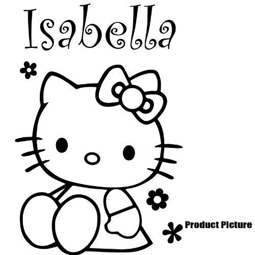 Hello Kitty, Blumen mit Ihrem gewählten Namen 60cm x 40cm Farbe Wählen 18Farben auf Lager Namen, Name personalisiert, Childs Schlafzimmer, Kinder Zimmer Aufkleber, Auto Vinyl-, Windows und Wandtattoo, Wall Windows Art, Decals, Ornament Vinyl Sticker ThatVinylPlace (Hello Kitty Window Decal)
