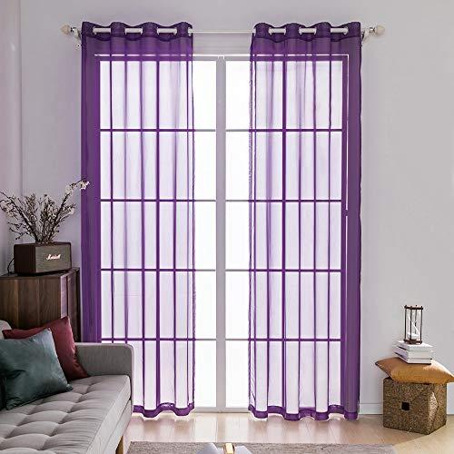 Miulee 2 pannelli tende voile leggeri trasaprenti decorative con occhielli per soggiorno e camera da letto 140x260cm viola chiaro