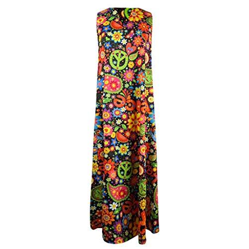 SMILEQ Femmes Robe Vintage Imprimer Floral Patchwork Jupe sans Manches O-Cou Lâche Maxi Robes (XXL, D Noir)