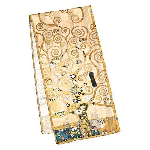 Foto-impressionismus (VON LILIENFELD Seidenschal LUXUS Mode Damen Satin lang (172 x 42 cm) aus 100 % Seide Kunst-Motiv Gustav Klimt: Lebensbaum)