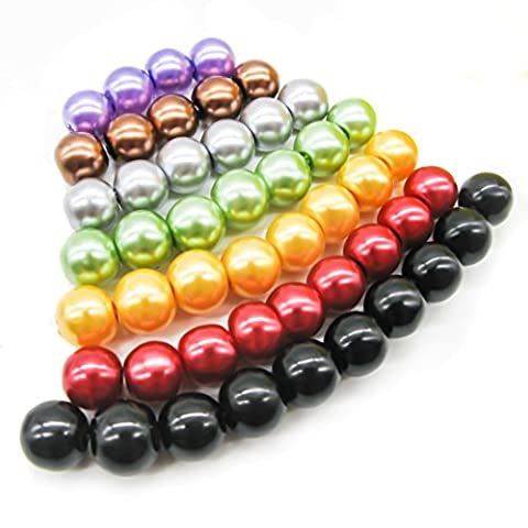TOAOB 8mm Round Glass Pearl Beads Mixed Colour with Box Pack of 168pcs
