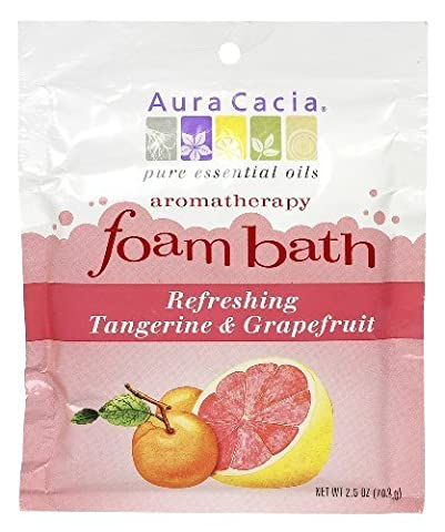 Aura Cacia Aromatherapy Foam Bath, Refreshing Tangerine and Grapefruit, 2.5 ounce packet (Pack of 3) by Aura Cacia