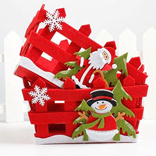 Lenfesh, cesti di natale, decorazione per natale con babbo natale, regalo, b2, 19*14*11cm