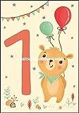 Glückwunschkarte zum 1. Geburtstag * Teddy mit Luftballons * 5706