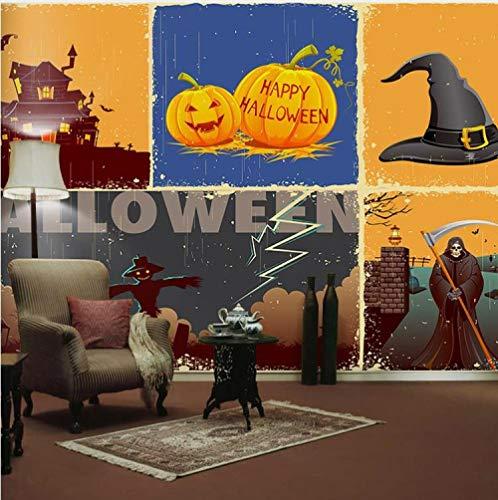ZDBWJJ 3D Hintergrundbild Happy Halloween Pumpkin Festival Fototapete Film für Sofa Hintergrund Fototapeten Tapeten-F