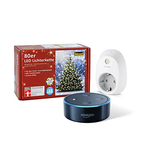 Dein smarter Christbaum: Set bestehend aus Amazon Echo Dot (2. Generation), Schwarz + TP-Link Smart Steckdose + 80er LED Lichterkette