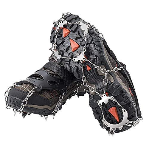 BROTOU Ice Tacchetti Ramponi Acciaio Inox di 19 Denti Ramponi di Antiscivolo Ghiaccio trazione per Outdoor Sci Ghiaccio Neve Escursioni Arrampicata