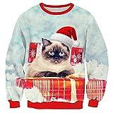 RAISEVERN Unisex Verde Galaxy Space Ugly Christmas Santa Cat Print Pullover Sweater Sudadera para Adolescentes Niños Niñas